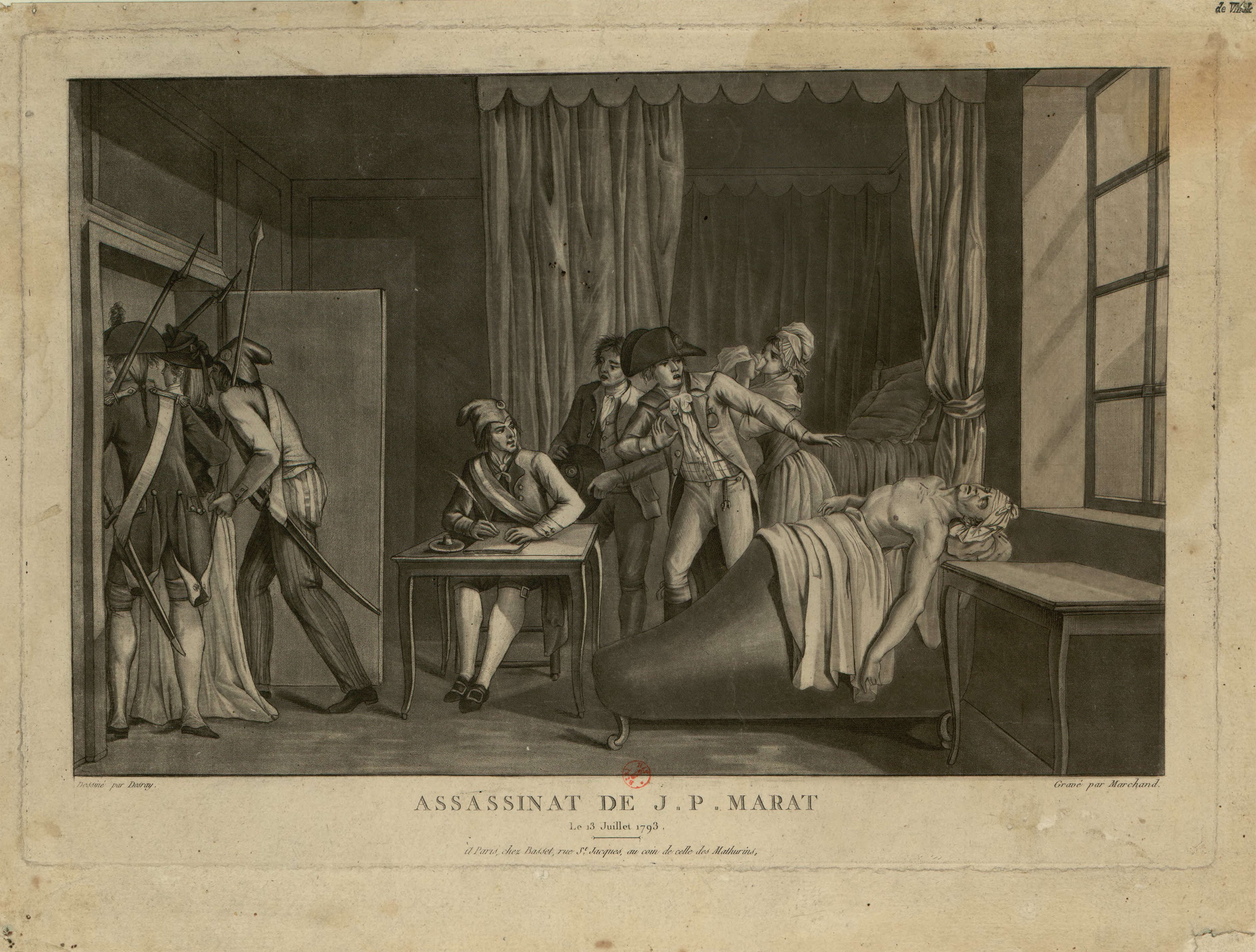 Engraving of death of Marat