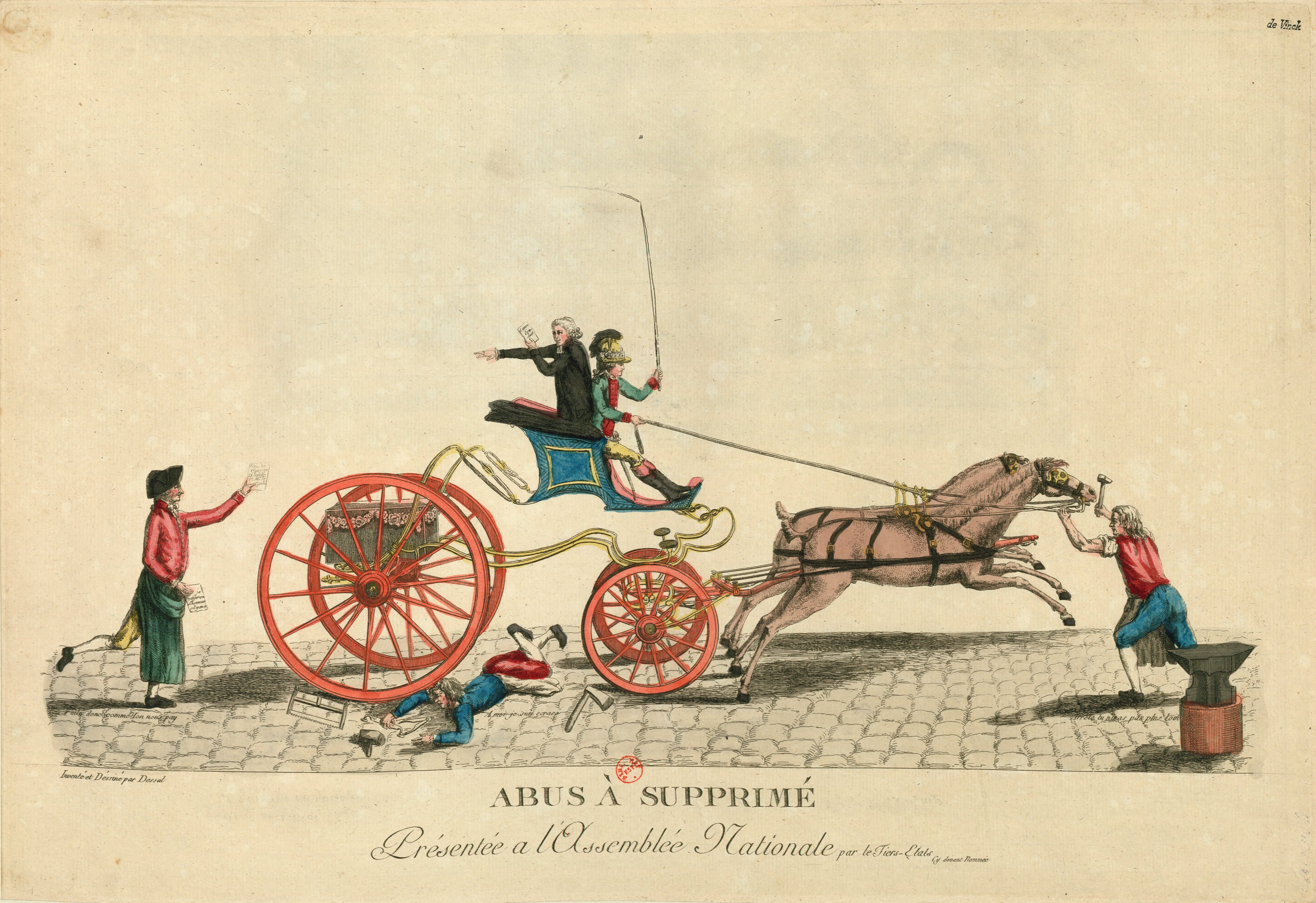 Print of man in carriage running over servants