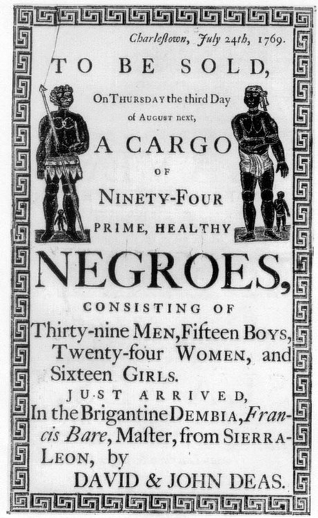 picture of an advertisement poster for the sell of slaves