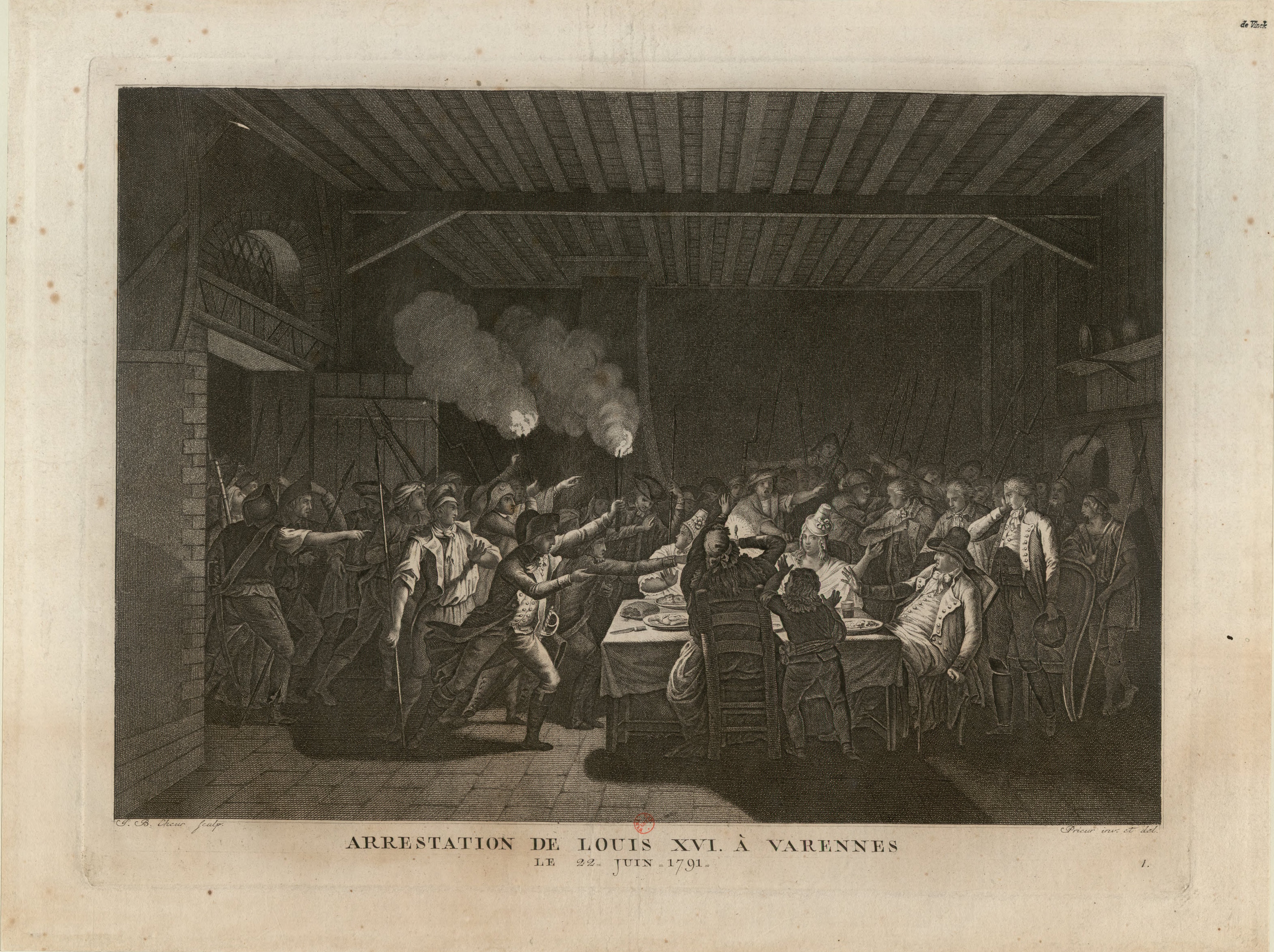 Print of angry crowd of revolutionaries