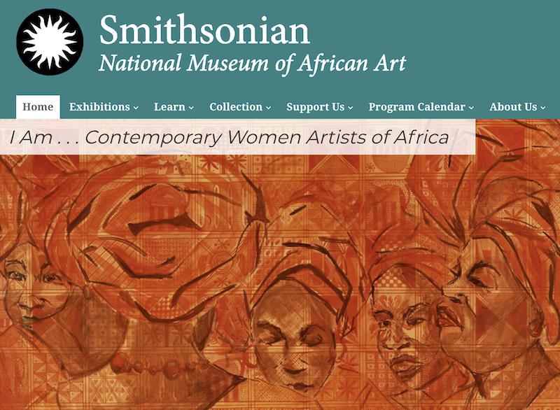 Screenshot of Smithsonian National Museum of African Art homepage