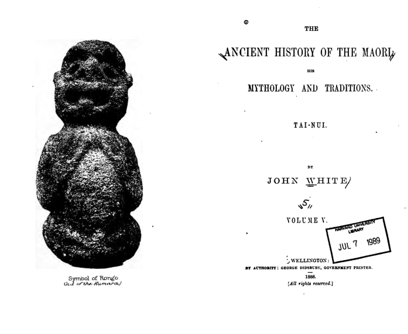 Title page of The Ancient History of the Maori