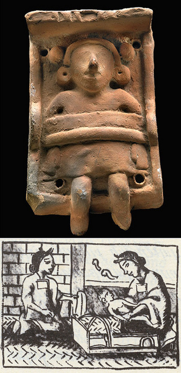 Aztec Cradleboard Figurine and Drawing