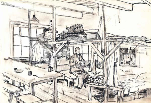 Sketch of a man sitting in barracks