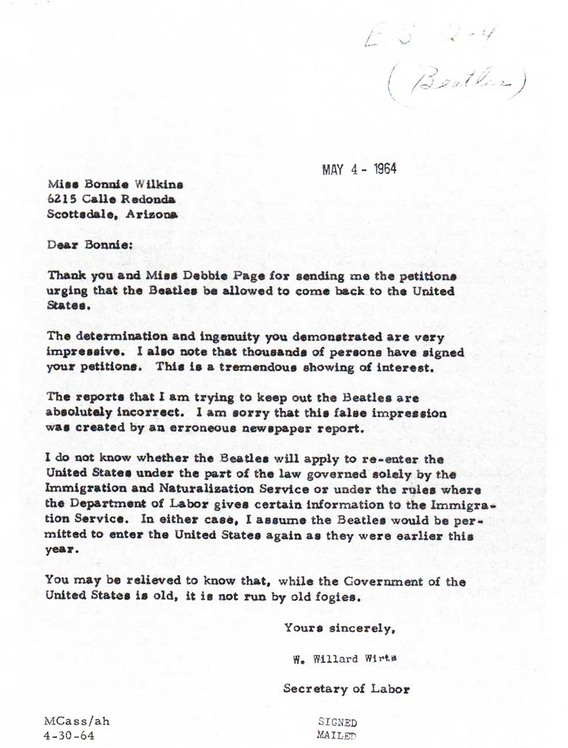 Letter from Secretary of Labor