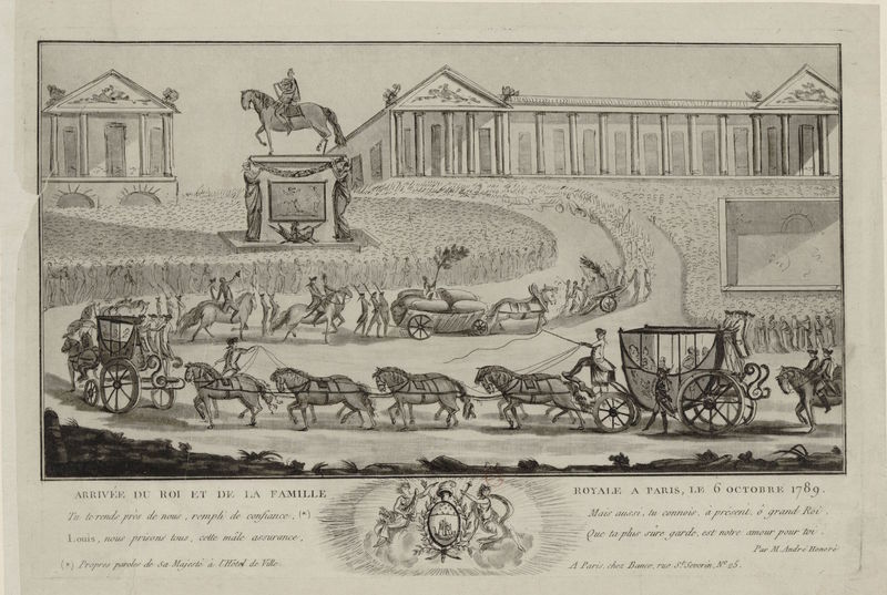 Engraving of the seizure of the king to bring him to Paris