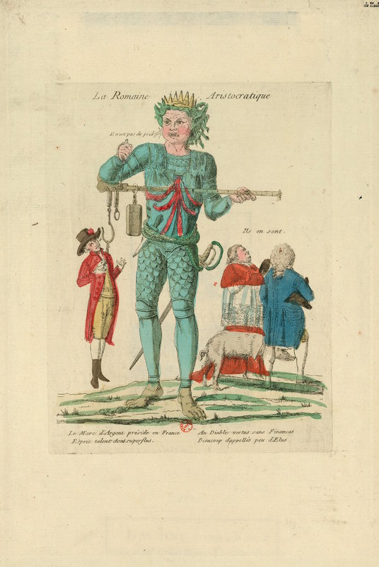 Print of a political cartoon against the king