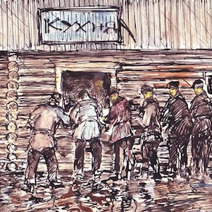 Sketch of prisoners lined up outside the camp kitchen