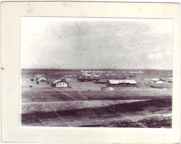 Photograph showing the camp's structures