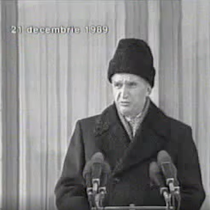 Video still of Ceausescu