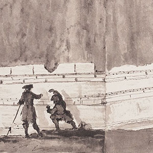 Drawing of two men working to create a large timeline