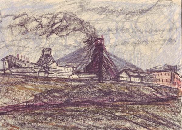 Color crayon sketch illustrating the mine at Vorkuta.