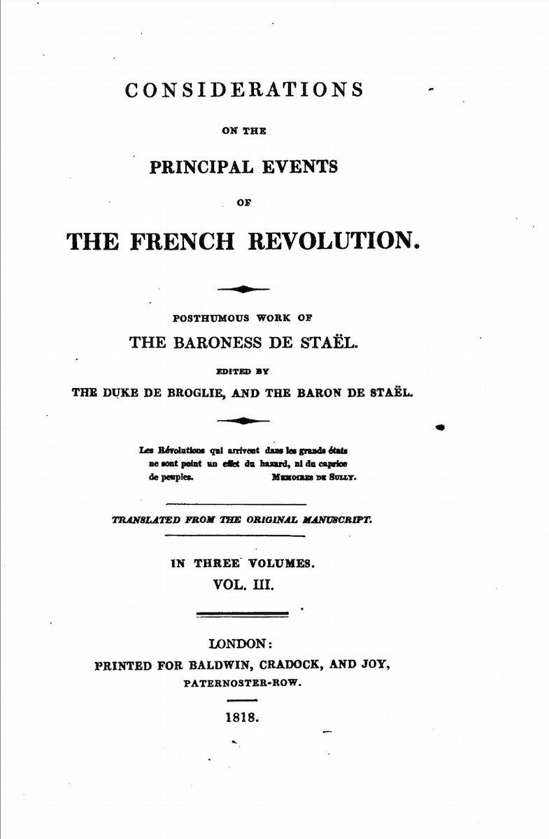 Considerations on the Principal Events of the French Revolution