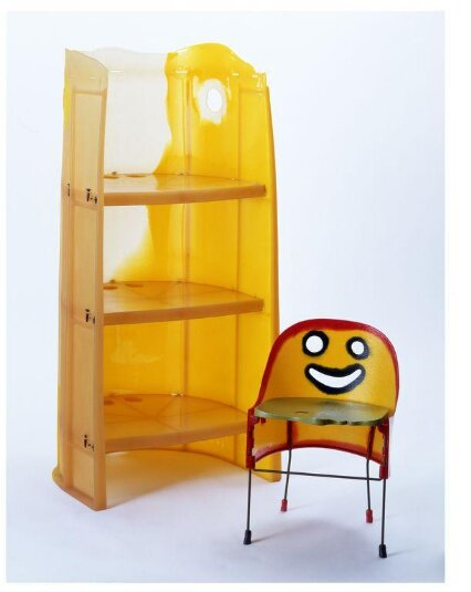 Crosby child's chair, made using multi-coloured moulded polyurethane resin and metal. Designed by Gaetano Pesce, made by Fish Design in New York.
