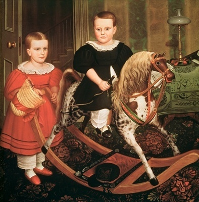 Oil on canvas painting depicting two siblings