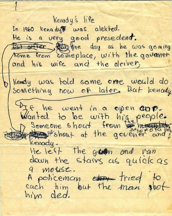 Child's writing on JFK's death
