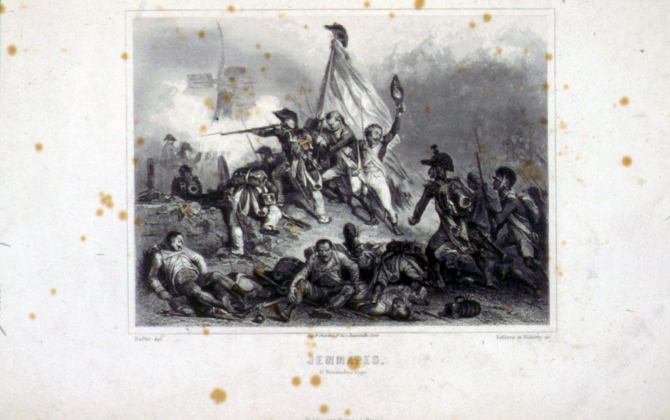 Engraving of French citizen-soldiers at the Battle of Jemmapes
