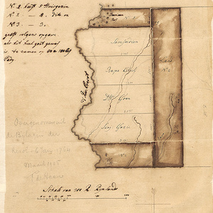 Sketch of map with notes in Dutch