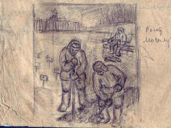 Pencil drawing depicting prisoners digging a grave