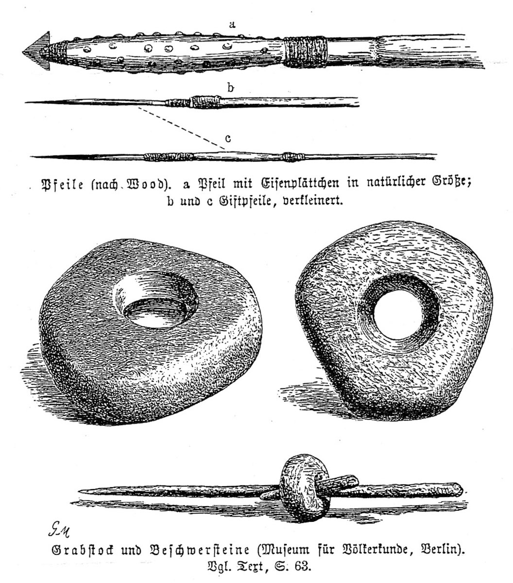 Drawing of Digging Stick and Stone Weights