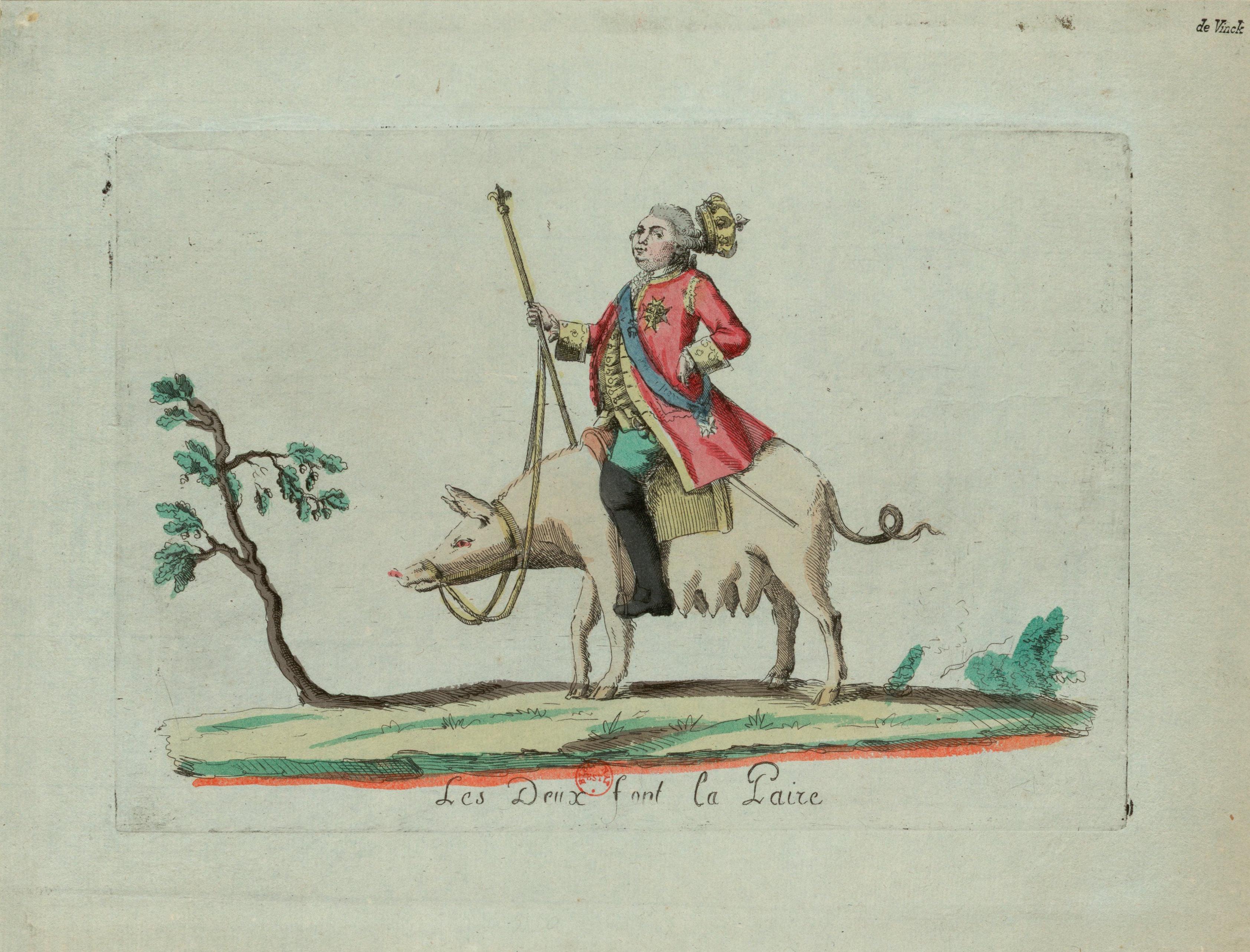 Engraving of King Louis XVI riding a pig
