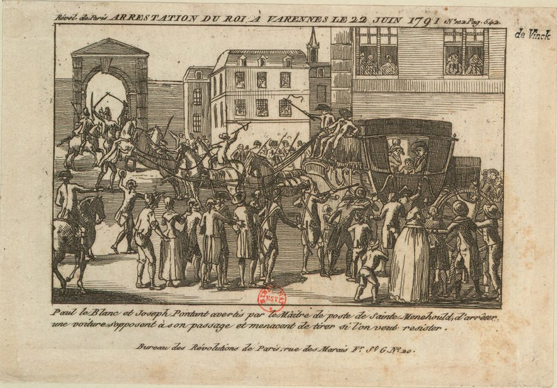 Engraving of dramatic moments during arrest