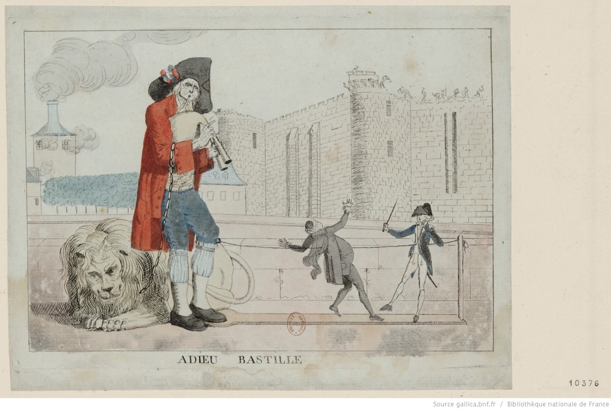 Engraving of man in foreground wearing French colors and observing two others in combat