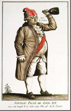 Engraving of King Louis XVI as a drunkard