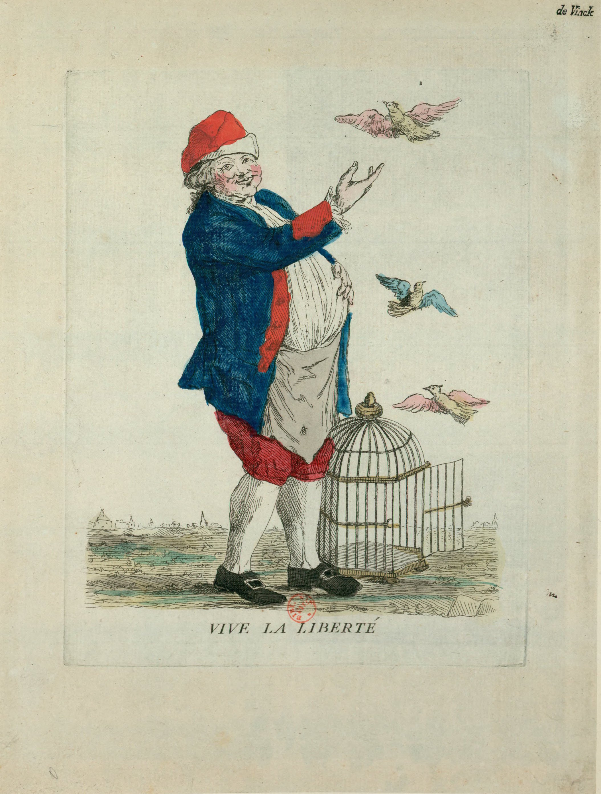 Engraving of King Louis XVI lets birds representing liberty out of a cage