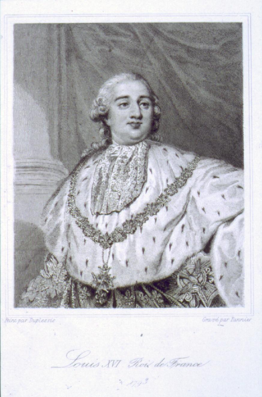 Engraving of portrait of King Louis XVI