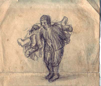 Pencil drawing of a prisoner
