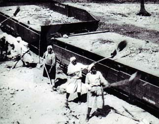 Photograph of female prisoners shoveling dirt into railroad flatcars