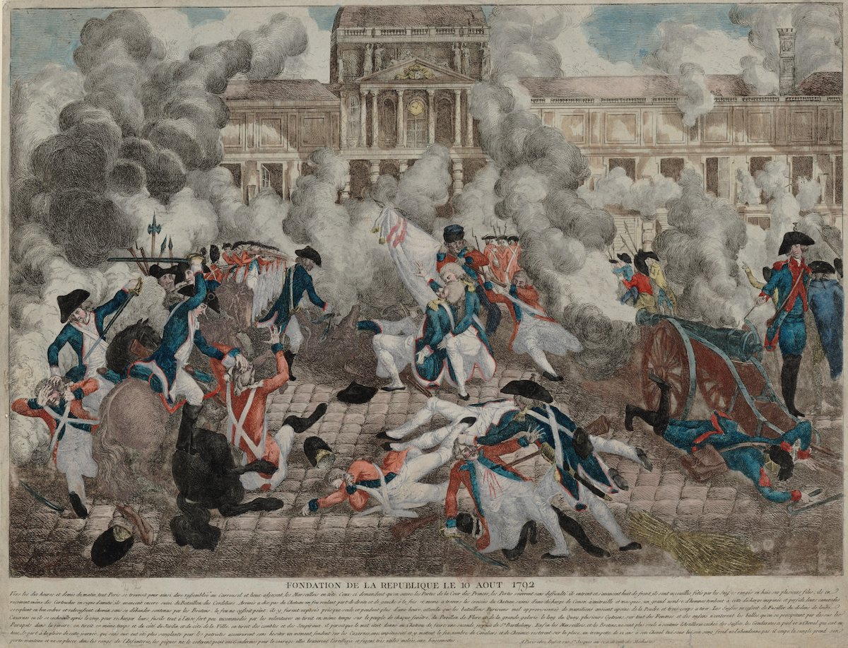 Print of clash between revolutionaries and military