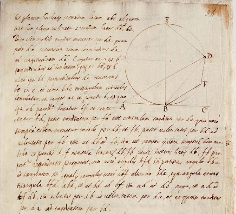 Image from website Galileo's Notes on Motion