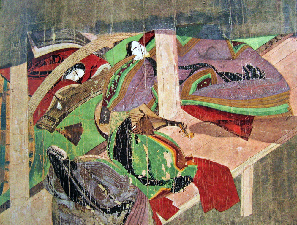 Lady of the Bridge, Tale of Genji Painting Scroll