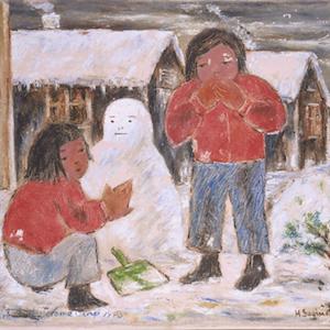 Girls Making Snowman painting thumbnail