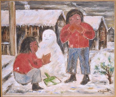 Girls Making Snowman painting