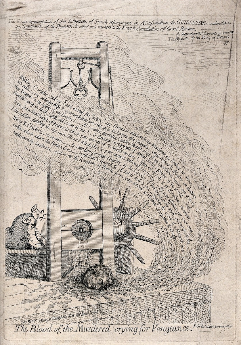 Engraving of a guillotine