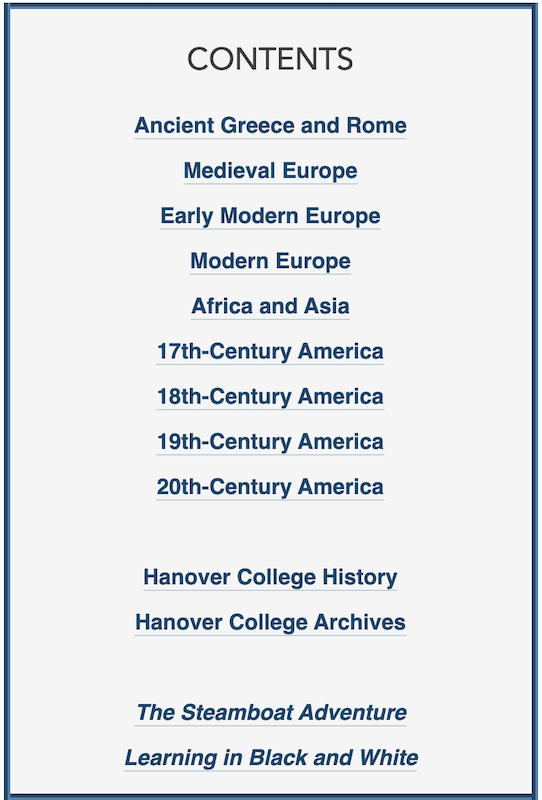 Screenshot of Hanover Historical Texts homepage