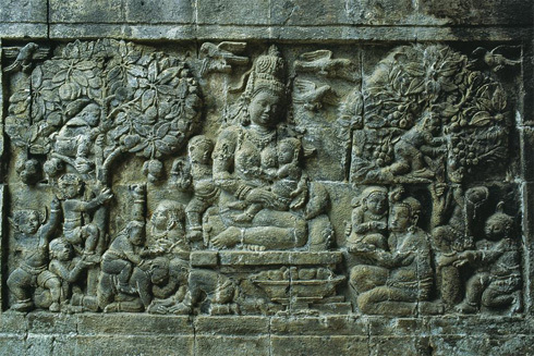 Carved stone relief from Candi Mendut