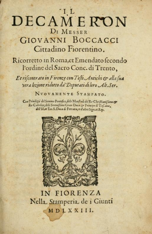 Title page of the Decameron