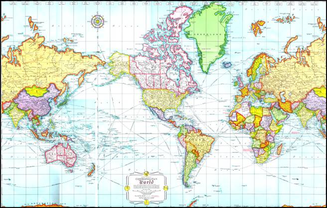 The Mercator Projection Map of the World