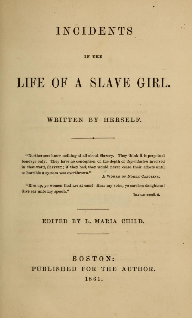 Title page of Incidents in the Life of a Slave Girl