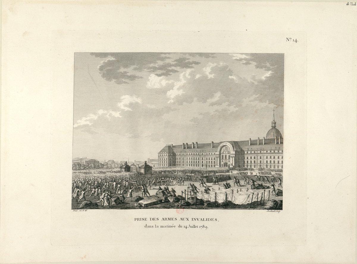 Engraving of crowd gathered to sack royal hospital