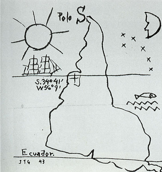 A drawing shows the continent of South American with South at the top.