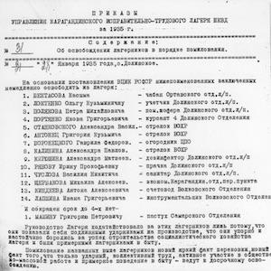 Karlag Orders by Linin, Chief of Administration of Karagandinskii Corrective Labor Camp NKVD