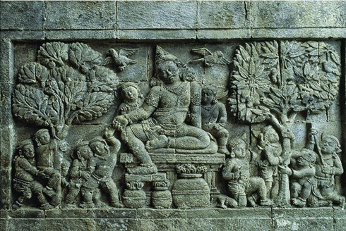 Stone relief carving from inside of Buddist temple