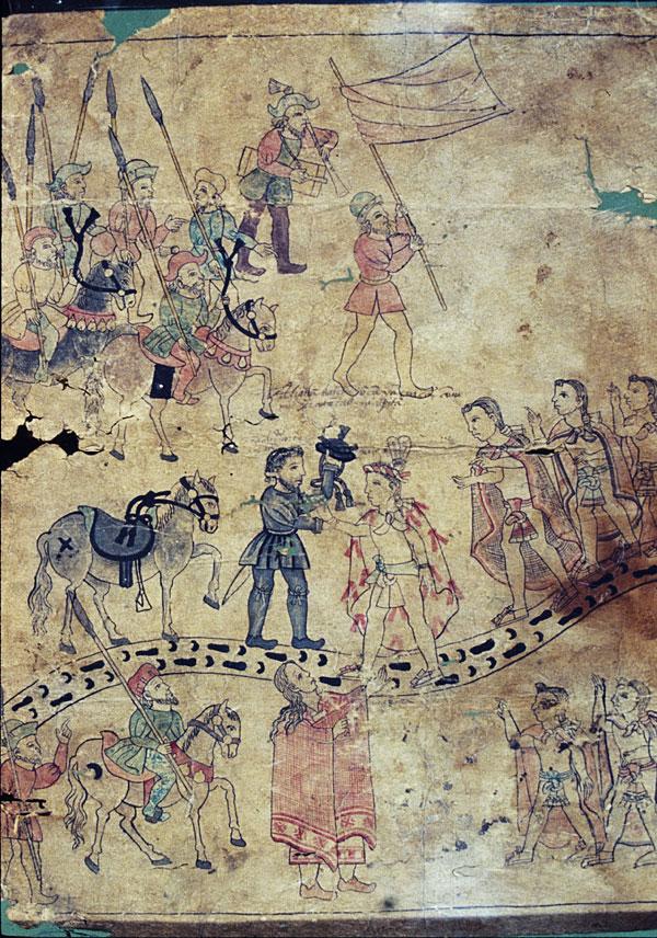 """Cortés Greets Xicotencatl."" Mid-16th century. Detail from Lienzo de Tlaxcala."