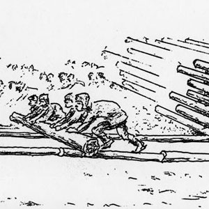 Drawing of pushing logs