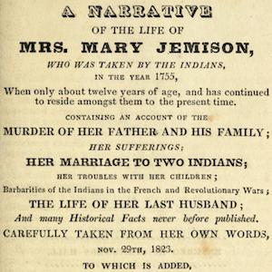 Title page of A Narrative of the Life of Mrs. Mary Jemison